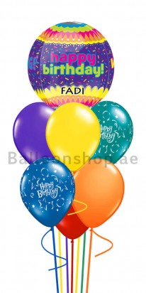 World is yours Today Personalized Orbz Birthday Balloon Bouquet
