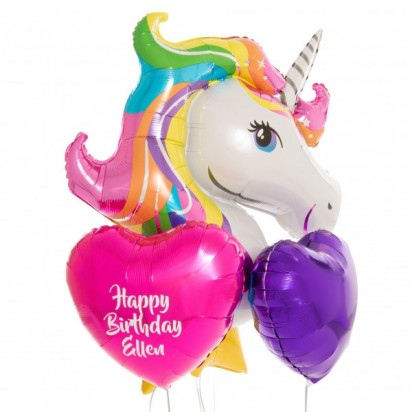 Rainbow Unicorn Personalised Balloon Bouquet