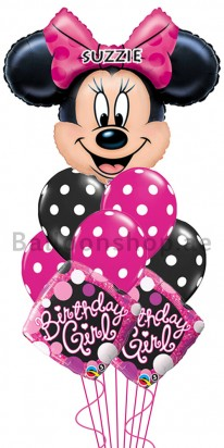 Personalized Disney Minnie Mouse Birthday Balloon Arrangement