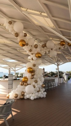 Organic Balloon Decor -  White and Gold ( 15 meters )