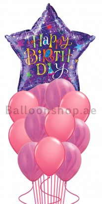 Purple Star Pink Agate Birthday Balloon Bouquet