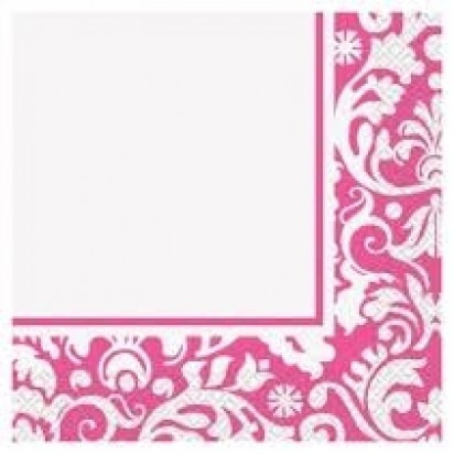 """13"""" Pink Damask Luncheon Napkin (16ct, 2 ply)"""