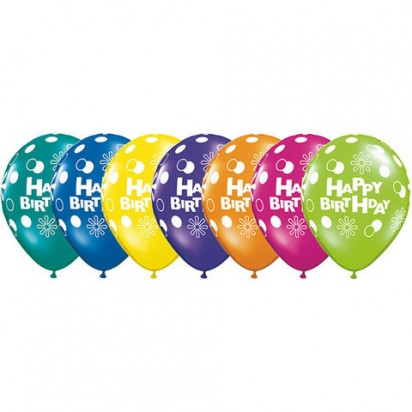 "11"" Polka Birthday Assortments Helium Balloons (Set of 7)"
