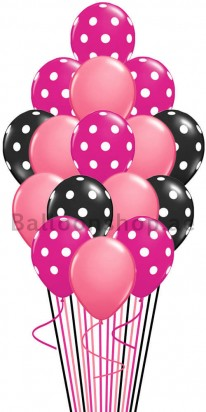 Polka Pink, Pink, & Black Balloon Bouquet
