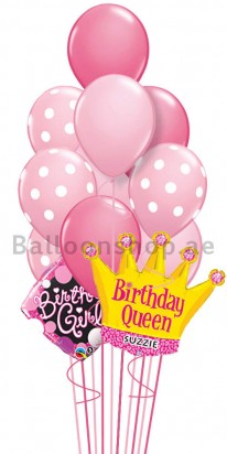 Personalized Polka Queen Birthday Balloon Bouquet