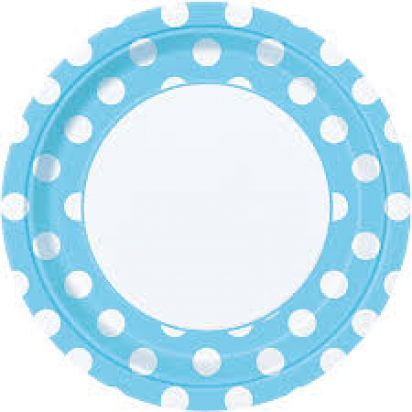 "8"" Powder Blue Dots Normal Party Plates (8ct)"
