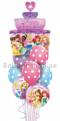 Mega Jumbo Princess Tiered Cake Birthday Balloon Arrangement