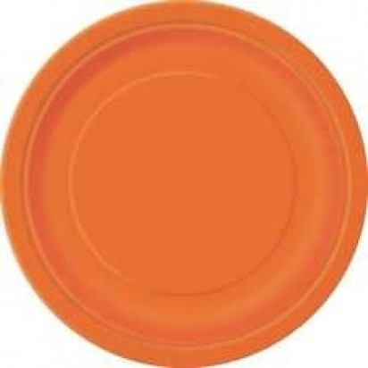 "7"" Pumpkin Orange Normal Party Plates (8ct)"