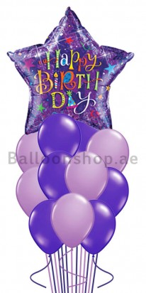 Purple Star Birthday Blast Birthday Balloon Bouquet