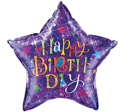 "36"" Purple Birthday Helium Foil Balloon"