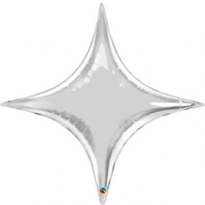 "36"" STAR POINT SILVER HELIUM SHAPE"