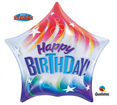 "22"" Red & Blue Birthday Bubble Helium Foil Balloon"