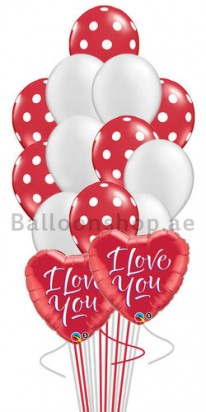 Polka Red & Silver Love Balloon Bouquet