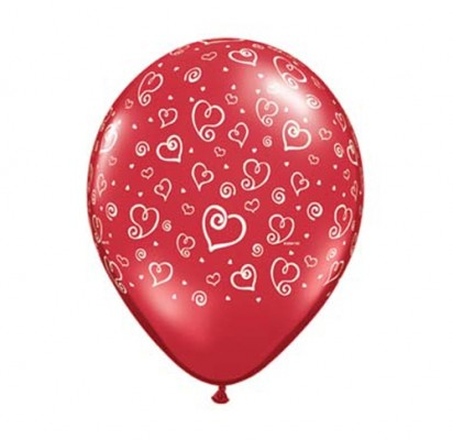 Red Hearts Helium Balloons