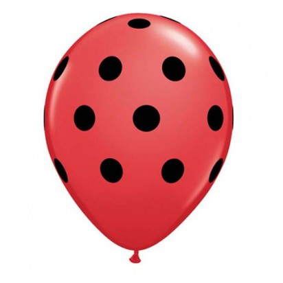 "11"" Black Red Polka Helium Balloon"