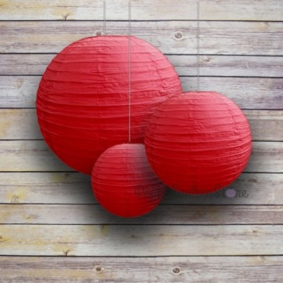 Red Round Paper Lanterns, (3-PACK Cluster)