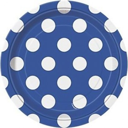 8' Royal Blue Dot Normal Party Plates (8ct)