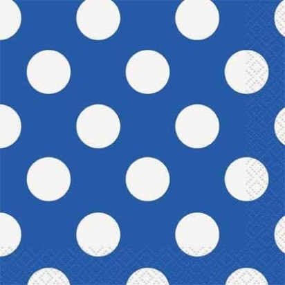 """13"""" Royal Blue Dots Luncheon Napkin (16ct, 2 ply)"""