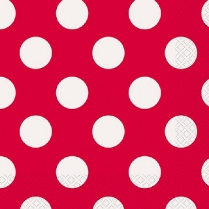 13' Ruby Red Dots Luncheon Napkin (16ct, 2 ply)
