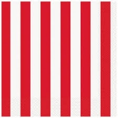 """13"""" Ruby Red Stripes Luncheon Napkin (16ct, 2 ply)"""