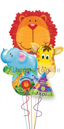 Jumbo Personalized Safari Birthday Balloon Bouquet