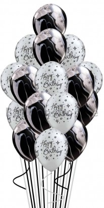 Classy and Elegant Silver Black Birthday Balloon Bouquet