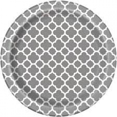 "8"" Silver Quatrefoil Normal Party Plates (8ct)"