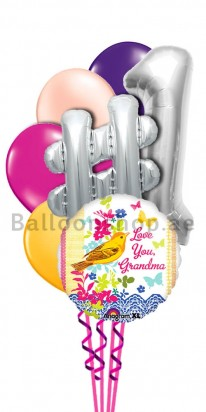 Colorful Grandmother Helium Balloon Bouquet