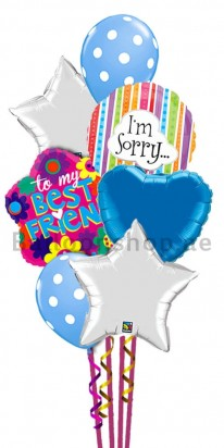 I am Sorry Blue and Silver Balloon Bouquet