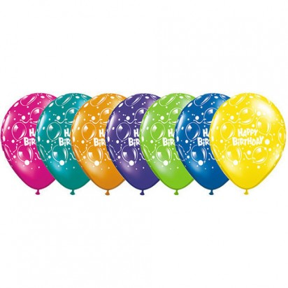 "11"" Sparkling Birthday Assortment Helium Balloons  (Set of 7)"