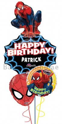Personalized Spiderman Birthday Balloon Bouquet