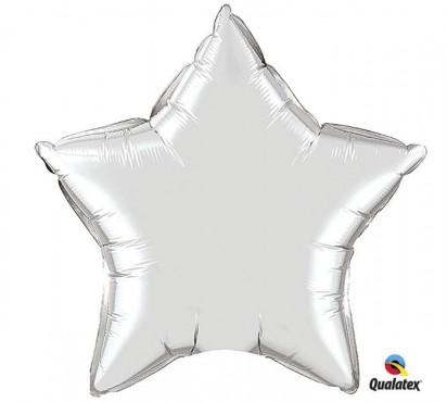 "20"" Metallic Silver Star Shape Helium Foil Balloon"