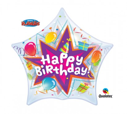 "22"" Birthday Star Bubble Helium Foil Balloon"