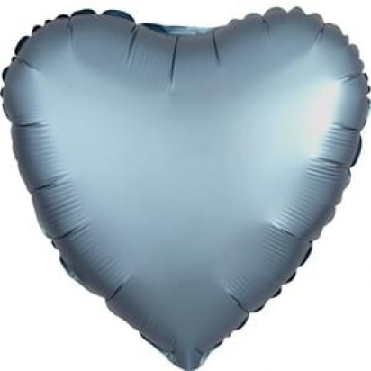 "18"" Steel Blue Heart Helium Foil Balloon"