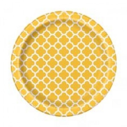 "7"" Sunflower Yellow Quatrefoil (8ct)"