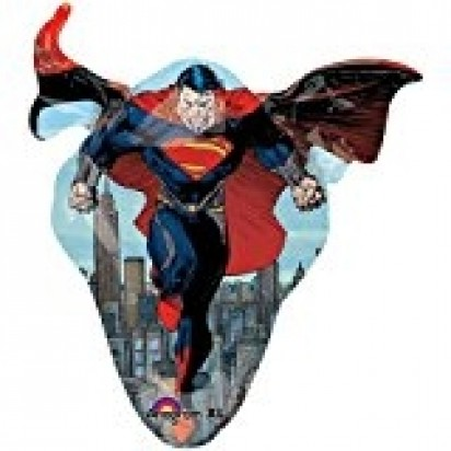 """34"""" Superman Flying Over City Helium Foil Balloon"""