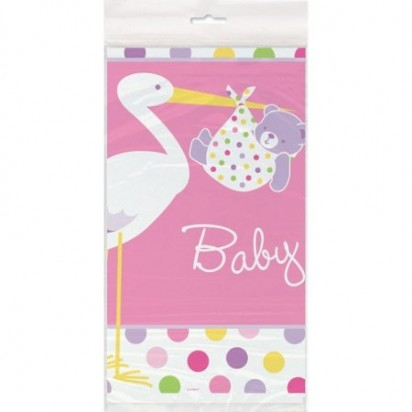 Plastic Baby Girl Stork Table Cover, 84 x 54-Inch, Pink and White