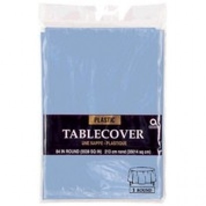 Round Plastic Light Blue Party Table Cover 213cm