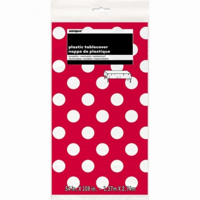 Plastic Red Polka Dot Table Cover, 9ft X 4.5ft