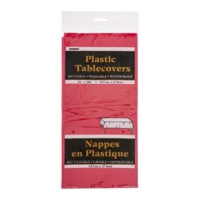 "Plain Plastic Table Cover, Red 54"" x 108"""