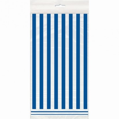 Blue and White Stripes Plastic Tablecover