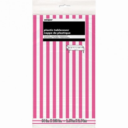 Pink and White Stripes Plastic Tablecover