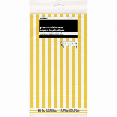 Yellow and White Stripes Plastic Tablecover