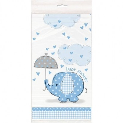 Umbrella Elephant Boy Baby Shower Plastic Table Cover