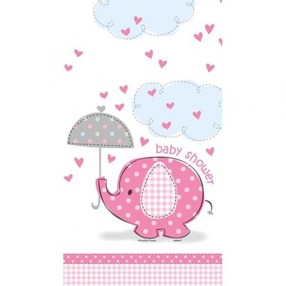 Umbrella Elephant Girl Baby Shower Plastic Table Cover