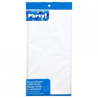 Round Plastic White Party Table Cover 213cm