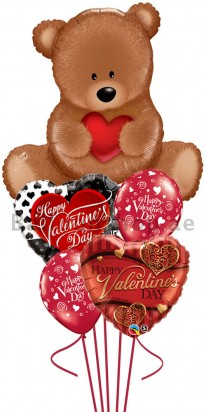 Mega Jumbo Teddy Valentine's Day Balloon Arrangement