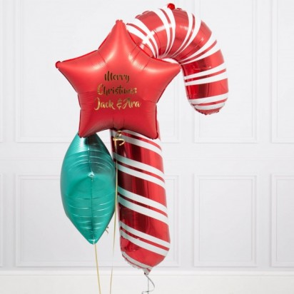 Personalized Candy Cane Star Balloon Bouquet