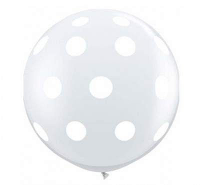 3' Polka Dots Transparent Clear Large Helium Balloon (90 cm)