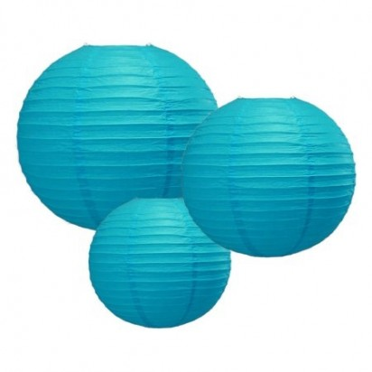 Turquoise Round Paper Lanterns, (3-PACK Cluster)